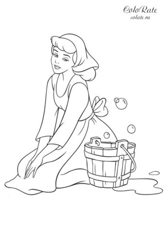 Золушка моет пол - разукрашка из мультфильма бесплатно