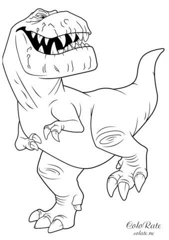 Зубастый хищник - разукрашки с динозаврами для детей