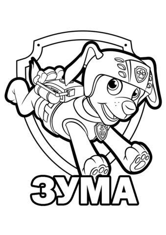 Раскраска из Щенячьего патруля - Логотип с Зумой