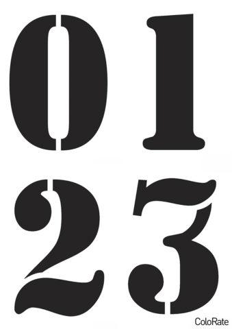 Распечатать трафарет a_Stamper - А6 - Цифры 0-3 - Трафареты цифр