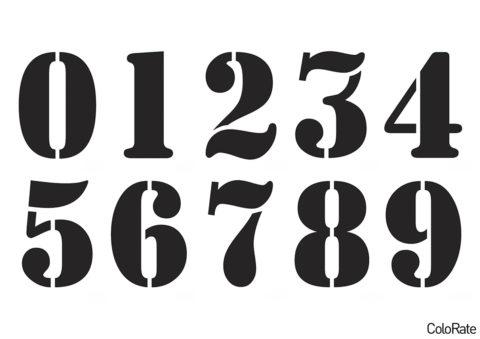 Распечатать трафарет a_Stamper - Все цифры на формат А4 - Трафареты цифр