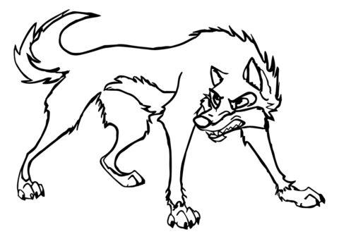 Бесплатная раскраска Агрессивный волк - Волки