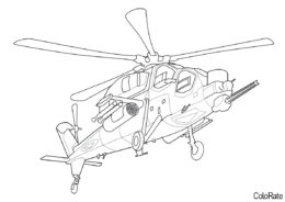 Вертолеты распечатать раскраску на А4 - Agusta A129 Mangusta