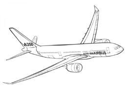 Разукрашка Airbus A350-800 распечатать на А4 - Самолеты
