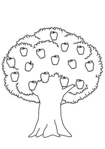 Аккуратная яблонька бесплатная раскраска - Яблоко