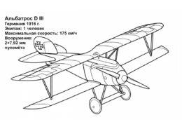 Бесплатная раскраска Альбатрос D III распечатать и скачать - Самолеты