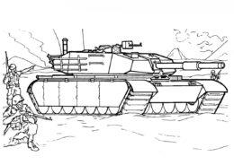 Раскраска Американский танк М1А1 Abrams распечатать и скачать - Танки