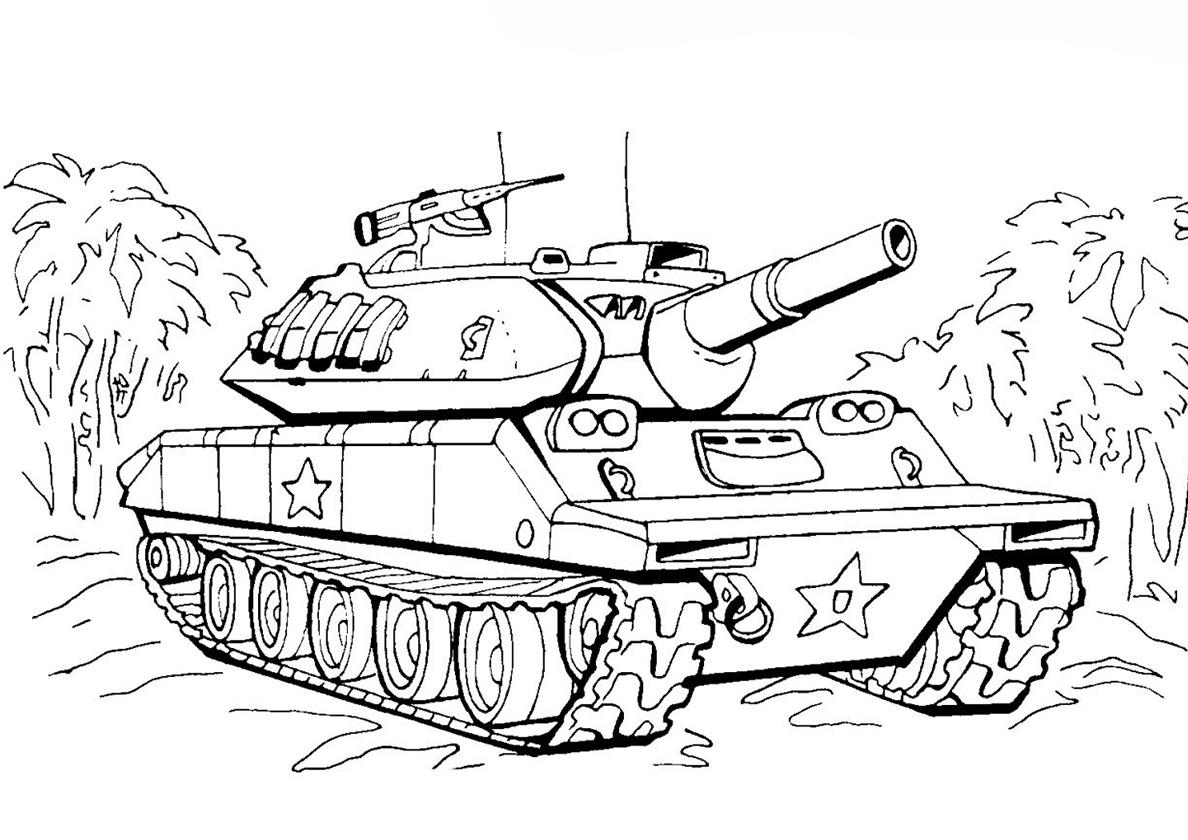Картинка для раскрашивания танк для детей