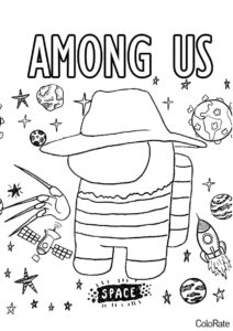Among Us Фредди Крюгер бесплатная раскраска - Among Us