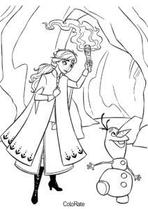 Анна и Олаф в пещере распечатать раскраску - Холодное сердце