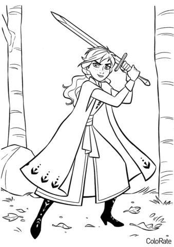 Анна с мечом (Холодное сердце) разукрашка для печати на А4