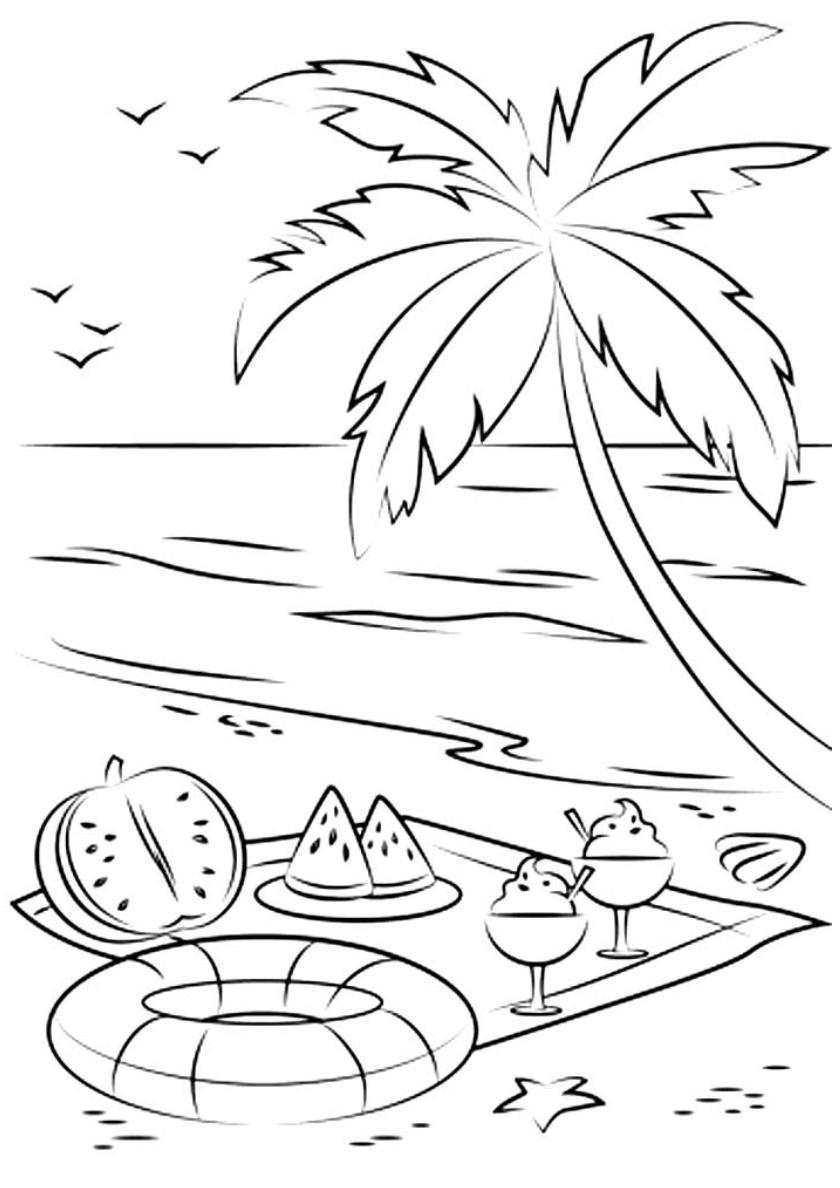 Раскраска Арбуз и мороженное под пальмой распечатать | Лето