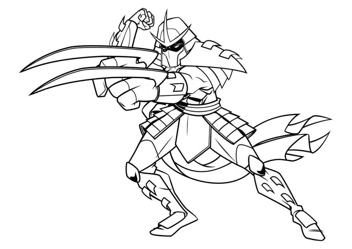 Раскраска Атакующий Шреддер распечатать | Черепашки-ниндзя