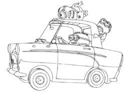 Миньоны бесплатная разукрашка - Автомобиль миньонов