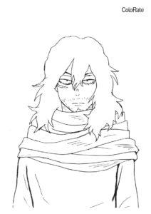 Бесплатная раскраска Айзава распечатать на А4 и скачать - Моя геройская академия