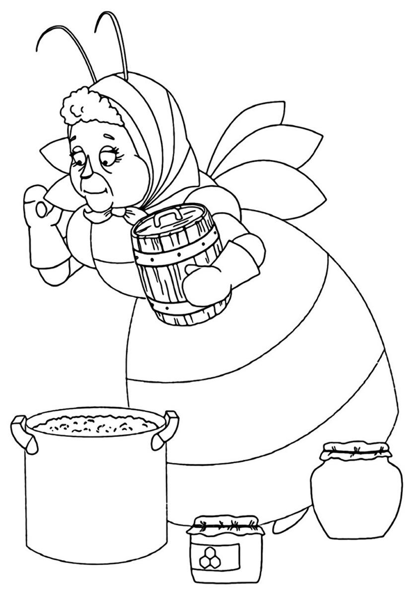 Раскраска Баба Капа хозяйничает распечатать   Лунтик