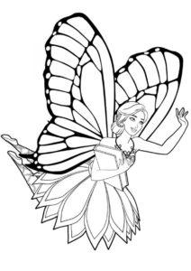 Бабочка барби распечатать и скачать раскраску - Барби