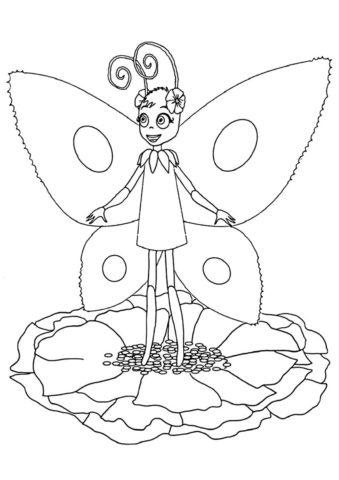 Раскраска Бабочка Элина распечатать и скачать - Лунтик
