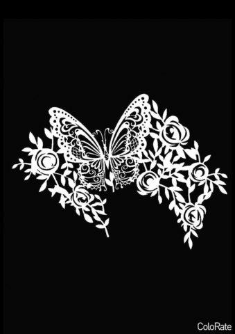 Бабочка и цветочный узор - Трафареты бабочек трафарет распечатать на А4