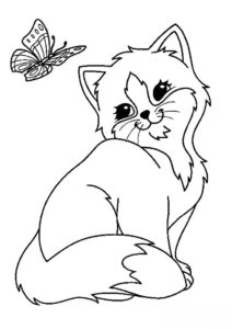 Коты, кошки, котята бесплатная раскраска распечатать на А4 - Бабочка и котенок