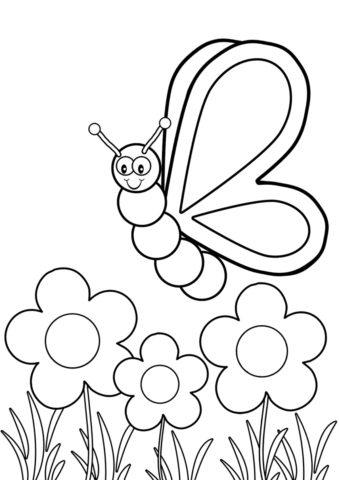 Бабочка кружит над цветами (Бабочки) разукрашка для печати на А4