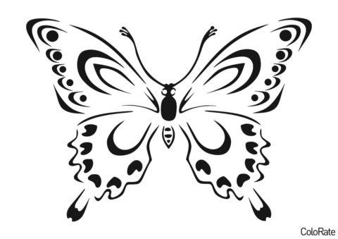 Трафареты бабочек распечатать шаблон для вырезания - Бабочка с глазками на крыльях