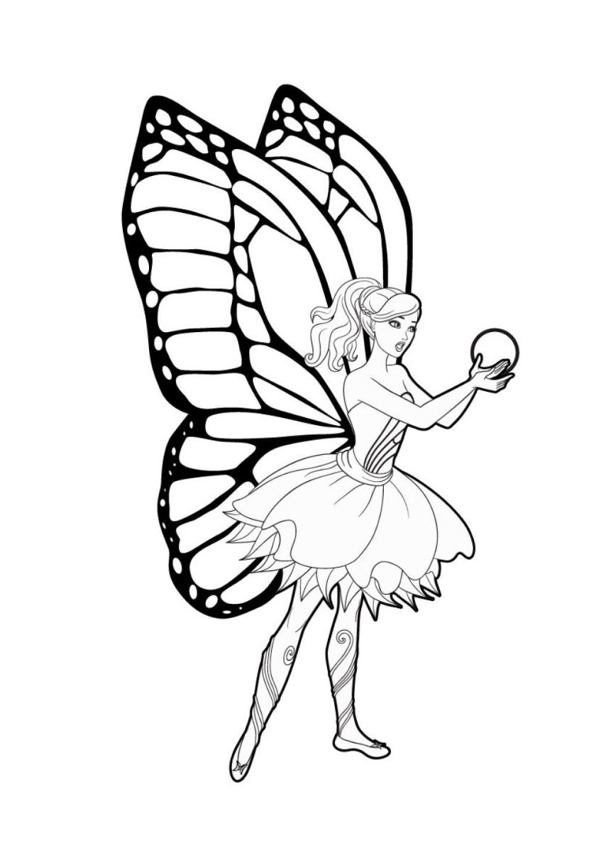 Раскраска Бабочка с жемчужиной распечатать | Барби