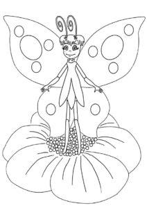 Лунтик распечатать раскраску на А4 - Бабочка счастлива