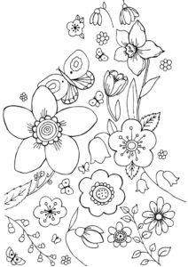 Бабочка в цветах бесплатная раскраска - Весна
