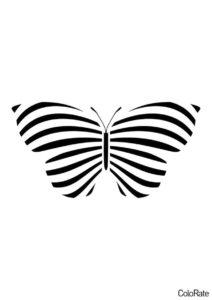 Бабочка в полоску шаблон распечатать бесплатно на А4 - Трафареты бабочек