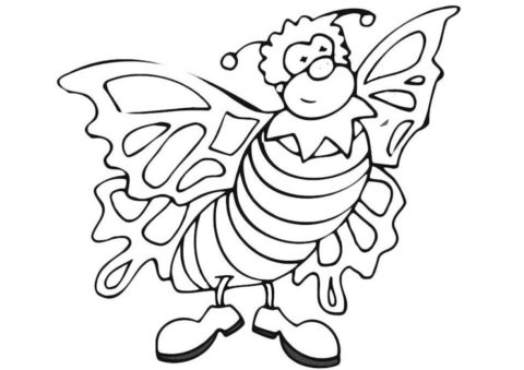 Бесплатная разукрашка - Бабочка в смешных ботинках