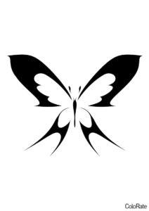 Бабочка в современном стиле (Трафареты бабочек) бесплатный трафарет на печать