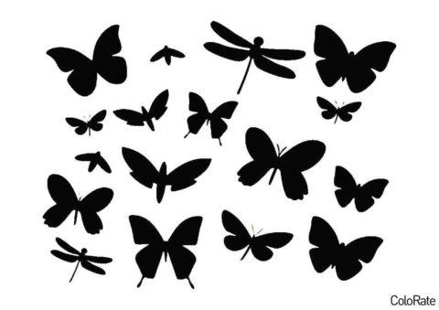 Бабочки, стрекозы и пчелки распечатать и скачать шаблон - Трафареты бабочек