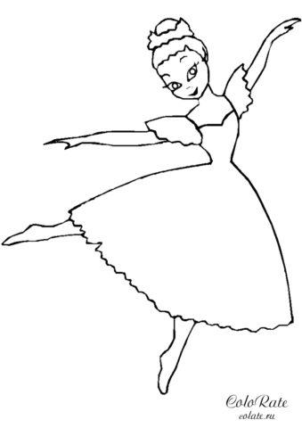 Малышка Белль танцует - раскраска для детей