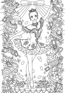 Балерина антистресс (Балерина) бесплатная раскраска