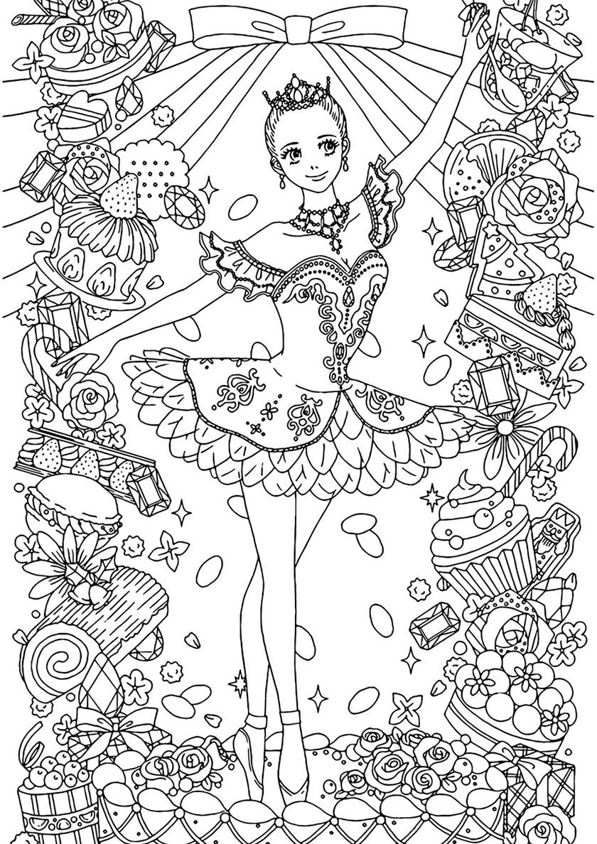 Раскраска Балерина антистресс распечатать | Балерина