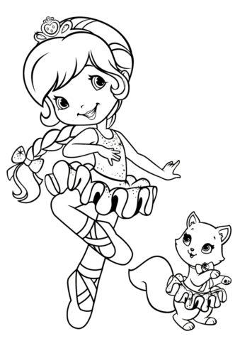 Балерина с котенком - Балерина раскраска распечатать на А4
