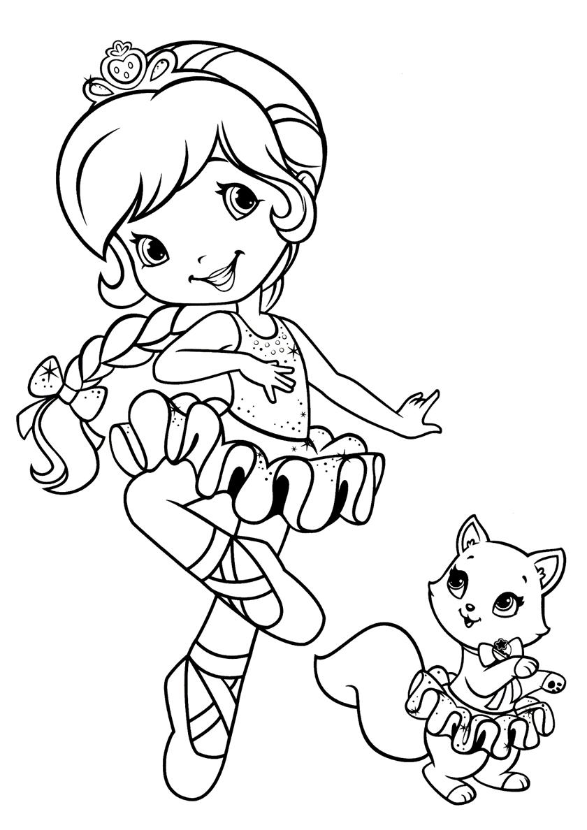 Раскраска Балерина с котенком распечатать | Балерина