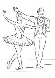 Балетная пара раскраска распечатать и скачать - Балерина