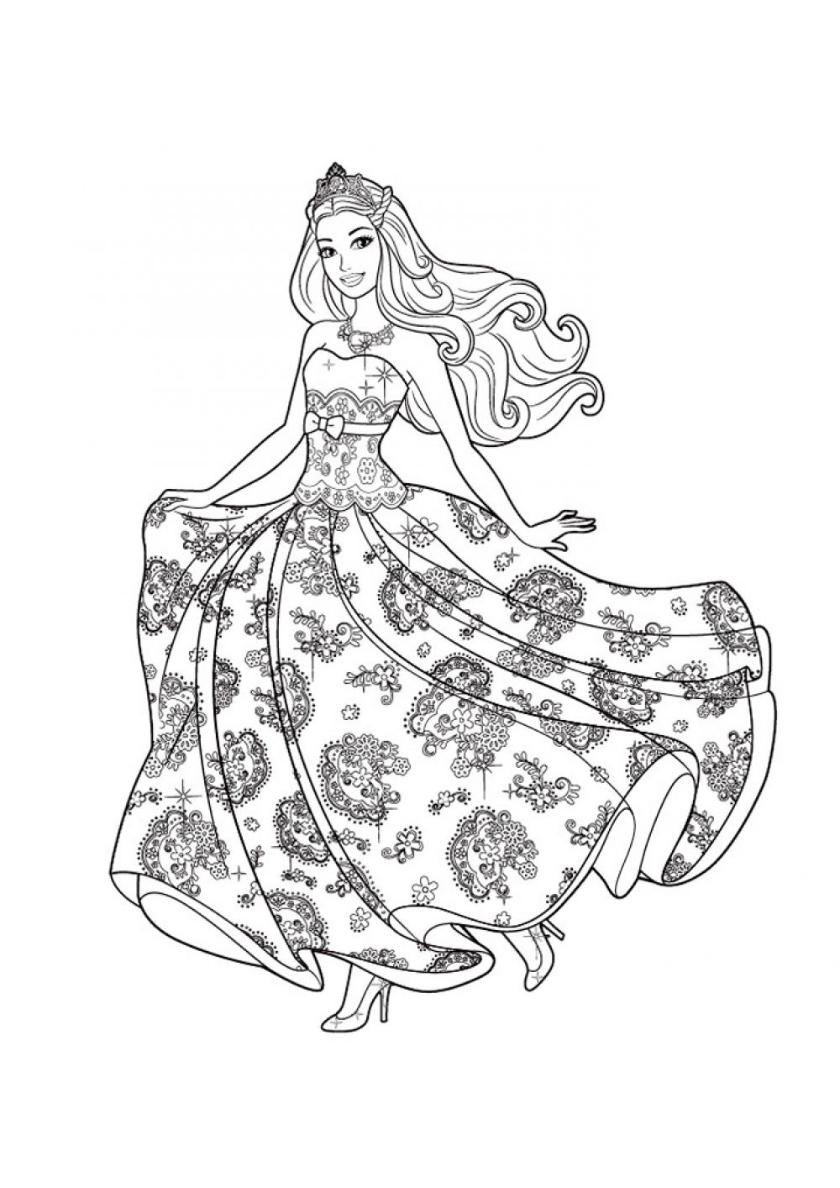 Раскраска Бальное платье распечатать | Барби