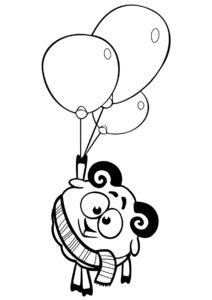 Бараш с воздушными шариками (Смешарики) распечатать раскраску
