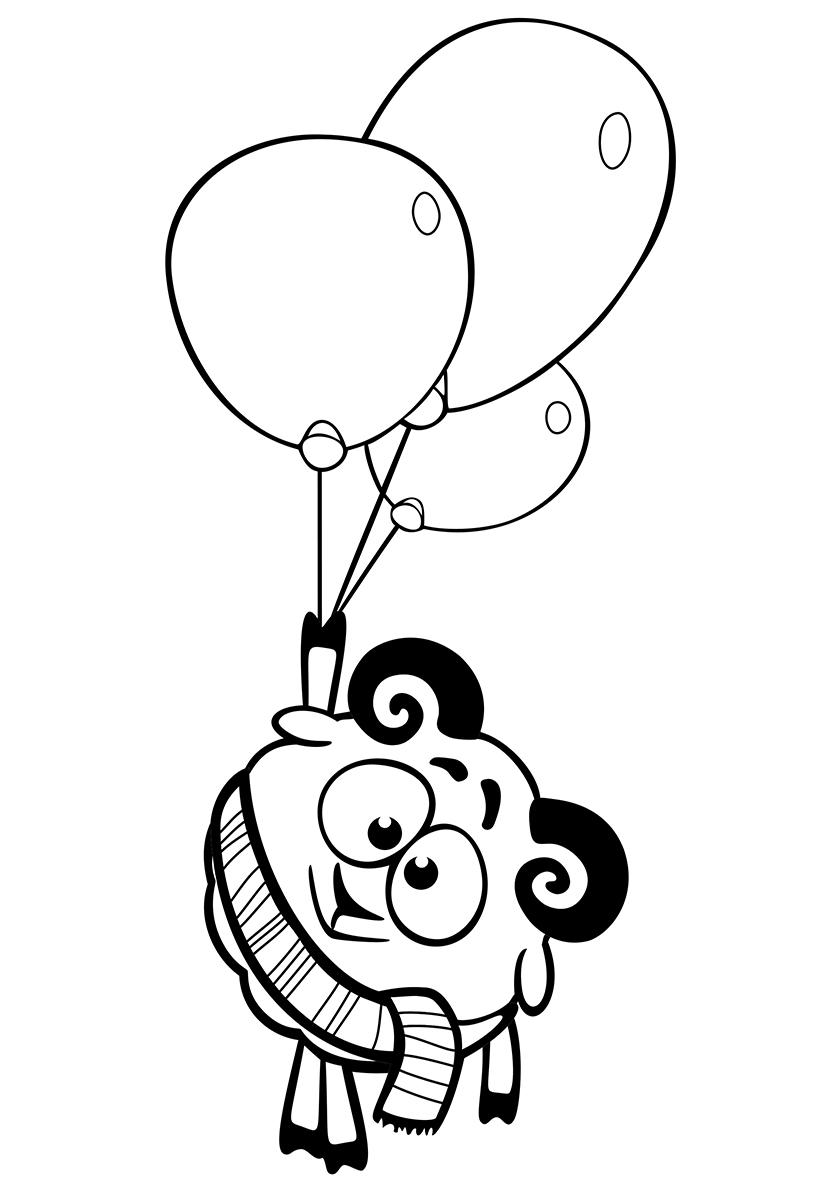 Раскраска Бараш с воздушными шариками распечатать | Смешарики