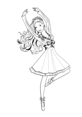 Барби балерина распечатать и скачать раскраску - Барби