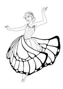 Барби кружится в танце (Барби) распечатать раскраску
