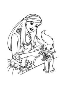 Разукрашка Барби с кошечкой распечатать и скачать - Коты, кошки, котята