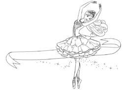 Балерина бесплатная разукрашка - Барби с ленточкой