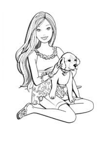 Барби распечатать раскраску - Барби с собачкой