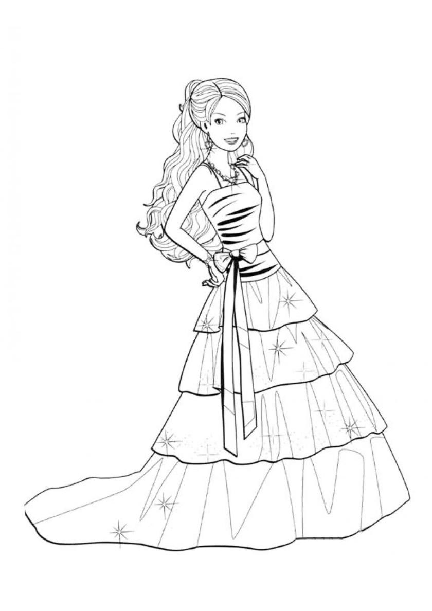 Раскраска Барби в шикарном платье распечатать | Барби