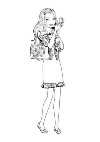 Barbie прихорашивается на прогулке (Барби) распечатать разукрашку