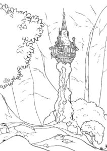 Башня в глуши распечатать раскраску - Рапунцель